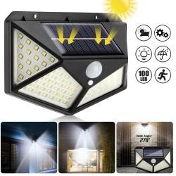 Aplica solara 100 LED-uri, senzor miscare, fixare perete, 3 trepte intensitate, alb rece, IP67