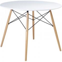 Masa rotunda, stil scandinav, picioare din lemn, diametru 80 cm, alb