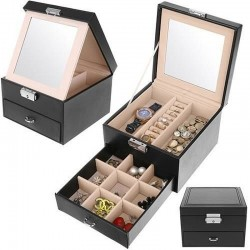 Caseta pentru ceasuri si bijuterii, sertar extensibil, inchidere cheie, oglinda, 31x16x25 cm