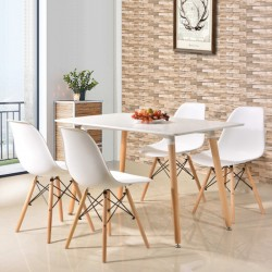 Masa stil scandinav 120x80x75 cm, blat alb, picioare din lemn, design clasic elegant
