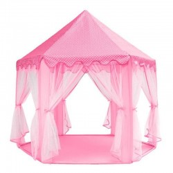 Cort copii, Castel 135x140 cm, forma hexagonala, 6 intrari, pliabil, roz