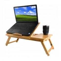 "Masuta laptop 17"", pliabila, 4 trepte inclinare, sertar, suport cana, lemn, natur"