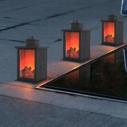 Felinar LED efect real flacara, mini semineu cu temporizator, carlig suspendare, negru