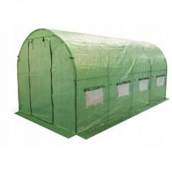 Sera 4x2.5x2 m, solar tip tunel, pentru gradina, folie cu protectie UV4, ferestre, verde