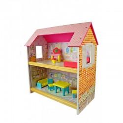 Casuta de papusi din lemn, 2 nivele, accesorii colorate dormitor si sufragerie