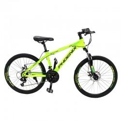 Bicicleta MTB, roti 24 inch, 21 viteze, schimbator Shimano, frane pe disc, verde, Phoenix