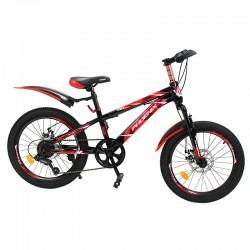 Bicicleta Mountain Bike, roti 20 inch, 7 viteze, schimbator Shimano, frane pe disc, rosu, Phoenix
