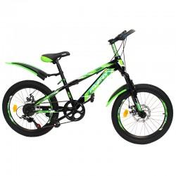 Bicicleta MTB, roti 20 inch, 7 viteze, schimbator Shimano, jante aluminiu, verde