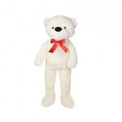 Urs de plus alb, inaltime 190 cm, fundita rosie satin, material delicat