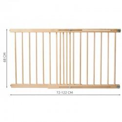 Poarta de siguranta, latime reglabila 72-122 cm, lemn de pin, 2 moduri montare