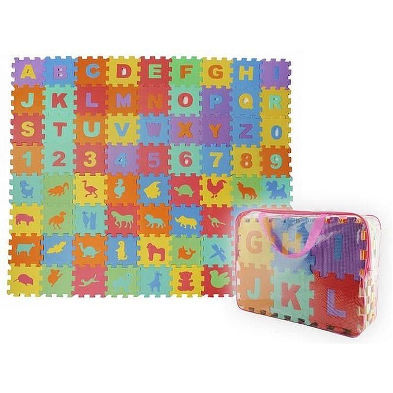 Covor tip puzzle din spuma, 72 elemente, litere, cifre si animale