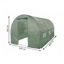 Folie solar de gradina, 4x2.5x2m, filtru UV, 140g/mp, ferestre, 2 intrari