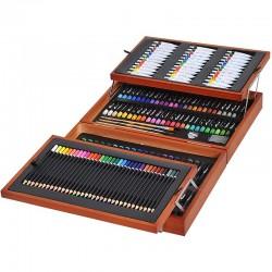Trusa pictura si desen 174 piese, cutie lemn, 4 compartimente