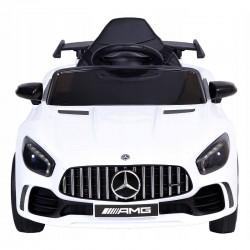 Masina electrica copii, Mercedes-Benz AMG GTR, telecomanda, scaune piele ecologica, alba
