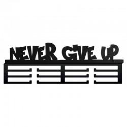 Suport pentru medalii Never give up, fixare pe perete, 12 carlige, negru