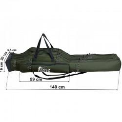 Geanta pentru lansete pescuit, 3 compartimente, 2 buzunare, bretele reglabile