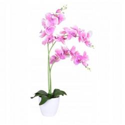 Orhidee artificiala decorativa roz, 24 flori si boboci, ghiveci, inaltime 65 cm