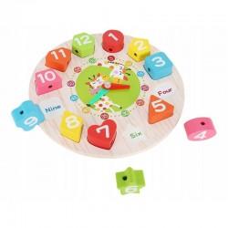 Ceas educativ pentru copii, puzzle lemn cifre limba engleza, +3 ani
