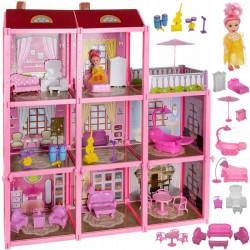 Casa pentru papusi, 3 nivele, 8 camere, piese de mobilier, papusa inclusa