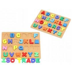 Puzzle Alfabet din lemn, 26 piese colorate cu tablita