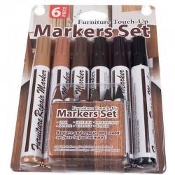 Kit marker corector pentru mobila, reparatie zgarieturi, set 6 culori