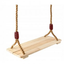 Leagan copii, sezut din lemn, franghii cu inele metalice