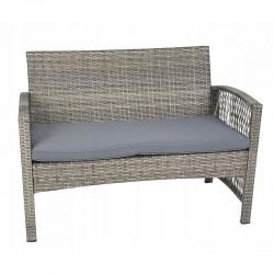 Set mobilier terasa, canapea, 2 fotolii, masa de cafea, model ratan gri