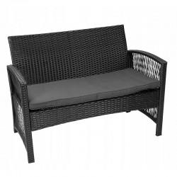 Set mobilier gradina, model ratan, canapea, 2 fotolii, masa de cafea, negru