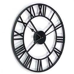 Ceas de perete stil retro, negru, metal, diametru 47.5 cm