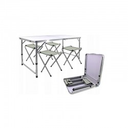 Set masa cu 4 scaune pliabile pentru camping, aluminiu, cutie transport