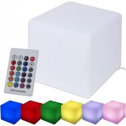 Cub tip taburet, iluminat LED RGB, 30x30 cm, telecomanda, 4 moduri, acumulator