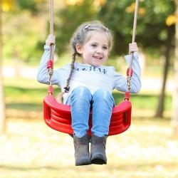 Leagan pentru copii, balansoar cu franghii 175 cm, inele prindere, rosu