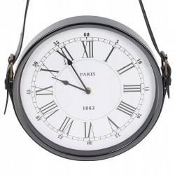 Ceas de perete metalic, curea de piele, stil retro, 30 cm