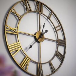 Ceas de perete, diametru 57 cm, cifre romane, Quartz, design clasic, auriu