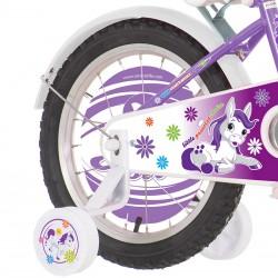 Bicicleta 12 inch, cos cumparaturi, scaun centura papusi, Fair Pony mov