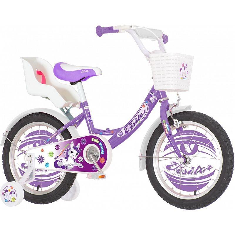 Bicicleta 16 inch, scaun papusi, cos alb, roti ajutatoare, frana V-Brake, Fair Pony mov