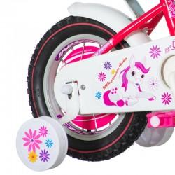Bicicleta 12 inch, Fair Pony roz, cos alb, scaun papusi, roti ajutatoare