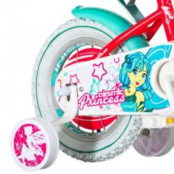 Bicicleta 12 inch, cos cumparaturi, roti ajutatoare, scaun papusi, Princess Cosmic