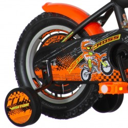 Bicicleta 12 inch, roti ajutatoare detasabile, frana V-brake, MotoCross portocaliu