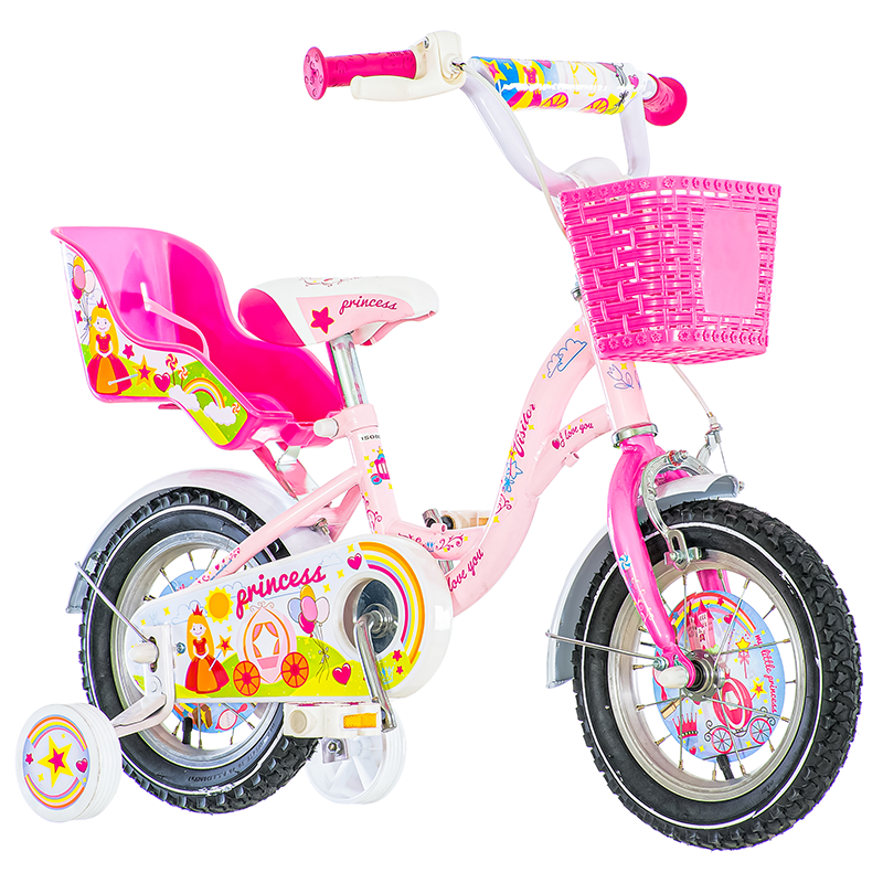 Bicicleta 12 inch, cos si scaun papusi, roti ajutatoare, V-Brake, Princess roz