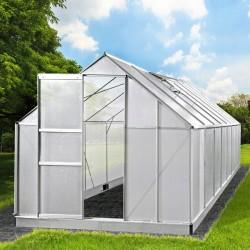 Sera gradina policarbonat 4.9x2.5x1.94 m, cadru aluminiu, 2 ferestre rabatabile, usa glisanta, protectie UV