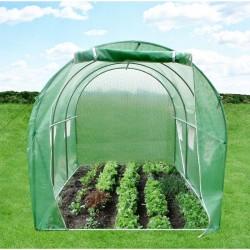 Sera tip tunel 2x2x2 m pentru gradina, cadru metalic, filtru UV, ferestre cu plase pentru tantari