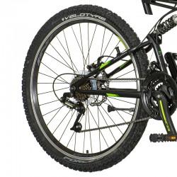 Bicicleta MTB 26 inch, 21 viteze schimbator Power, frane pe disc, suspensii full, Explorer, verde