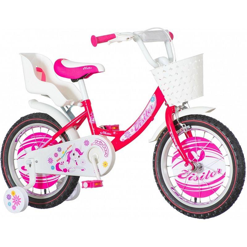 Bicicleta roti 16 inch, cos si scaun papusi, roti ajutatoare, Fair Pony roz