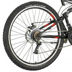 Bicicleta Mountain Bike 26 inch, 21 viteze schimbator Power, frane pe disc, suspensii full, Explorer rosu