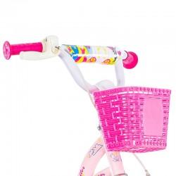 Bicicleta 16 inch, cos si scaun papusi, roti ajutatoare, Princess roz