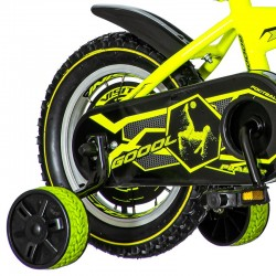 Bicicleta 16 inch, 2 roti ajutatoare, frana V-Brake, Footbal, galben neon
