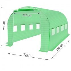 Folie protectie solar de gradina, 4x3x2m, filtru UV, 8 ferestre, 2 intrari