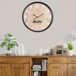 Ceas de perete din MDF, Bistro, 60 cm, rama neagra