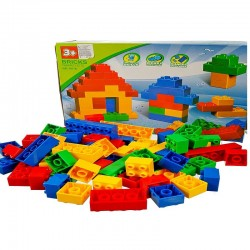 Cuburi de construit, 76 piese colorate, plastic, 3 ani+